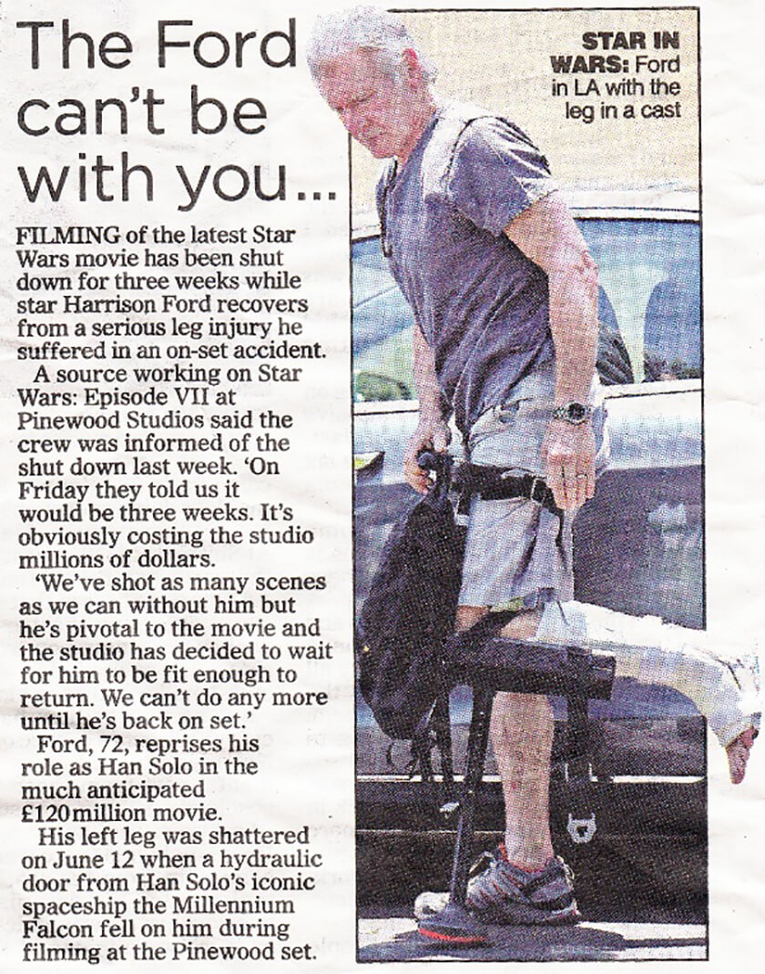 Harrison Ford - Daily Mail - False Leg